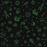 Space pattern objects and symbols. Sketchy hand drawn doodle. On black background Stock Photos