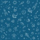 Space pattern objects and symbols. Sketchy hand drawn doodle. Isolated on blue background Royalty Free Stock Image