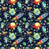 Space pattern with planets and rocket royalty free illustration