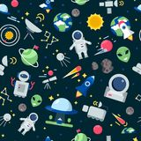 Space pattern. Shuttle rocket astronaut stars interstellar mars planets travel vector seamless cartoon pictures. Rocket and shuttle for travel, cartoon pattern royalty free illustration