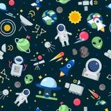 Space pattern. Shuttle rocket astronaut stars interstellar mars planets travel vector seamless cartoon pictures royalty free illustration