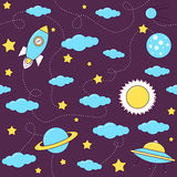 Space pattern with stars and clouds. stock illustration