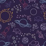 Space pattern. Stylized vector seamless background. In the style of a cartoon for web design, wallpaper and textiles Royalty Free Stock Image