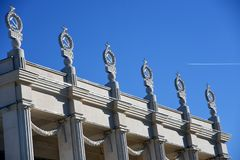 Space pavillion, detail of the roof. Decorations in shape of hammer and sickle. stock photography
