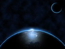 Space. Photoshop design of space and the earth Stock Photos