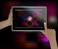 Space picture in a smart phone. Space. Vector Illustration for your design. Beautiful, fantastic and magical. Spiral nebula. A glowing clot in the form of a Royalty Free Stock Image
