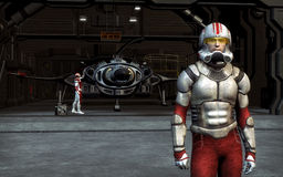 Space pilot. A space fighter pilot in 3d with hangar and spaceship in background Royalty Free Stock Photo