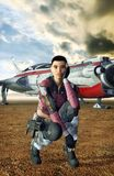 Space pilot girl Royalty Free Stock Image