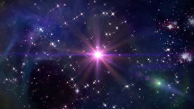 Space with pink star cross. The mystery of stars glowing in space night stock video