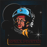 Space pirate. Astronaut cartoon character. Poster retro style. Vector  illustration 10 EPS Stock Photo