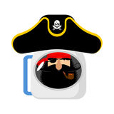 Space pirate astronaut in helmet. filibuster spaceman. Eye patch Royalty Free Stock Image