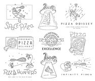 Space pizza hunters black and white concept. Vector space pizza hunters concept for any use Royalty Free Stock Images