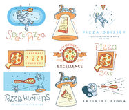 Space pizza hunters colored concept Stock Images