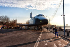 Space plane. On a bicycle path Stock Photo