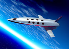 Space plane in earth orbit Royalty Free Stock Image
