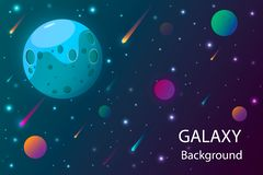 Space and planet background. Planets surface with craters, stars and comets in dark space. Vector illustration. stock illustration