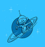 Space planet Saturn and astronaut. Illustration cartoon tone Royalty Free Stock Images