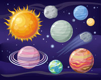 Space with Planet Sun and Star Design Flat Royalty Free Stock Images