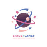 Space planet - vector logo template concept. Solar system abstract creative illustration. Galaxy sign. Design element Stock Photography