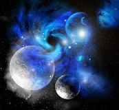 Space with planets in blue dust Stock Image