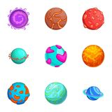 Space planets icons set, cartoon style. Space planets icons set. Cartoon set of 9 space planets vector icons for web isolated on white background Royalty Free Stock Image