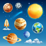 Space and planets icons Stock Photos