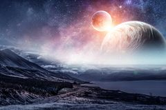 Space planets and nature. Abstract background image with space planets and natural landscape. Elements of this image furnished by NASA Stock Photography