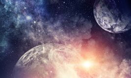Space planets and nebula. Abstract background image with space planets and starry sky. Elements of this image furnished by NASA Royalty Free Stock Image