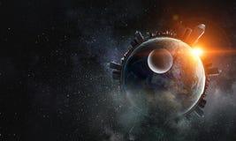 Space planets and nebula stock photo