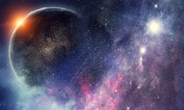Space planets and nebula royalty free illustration