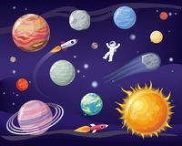 Space and Planets Set Poster Vector Illustration. Space and planets set, poster with astronaut wearing special suit, Sun and Earth, stars and cosmos, vector Stock Photo