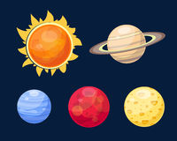 Space planets star vector illustration. Universe astronomy galaxy science shine sunlight symbol. Globe world fantasy saturn astrology scientific icon Stock Photo