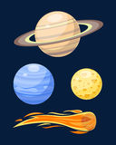Space planets star vector illustration. Universe astronomy galaxy science shine sunlight symbol. Globe world fantasy saturn astrology scientific icon Royalty Free Stock Photos