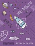 Space Planets Stars Cosmonaut Spaceship Flight Stock Photo
