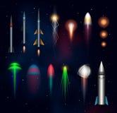 Space plasmas, laser beams and rockets Royalty Free Stock Photo