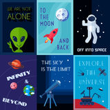 Space Poster Set. Space exploration human spaceflights mini poster set isolated vector illustration Royalty Free Stock Images