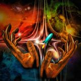 Space Prayer. Surreal painting. Vivid universe. Hands of a prayer. Space rocket. Human elements were created with 3D software and are not from any actual human Royalty Free Stock Photos