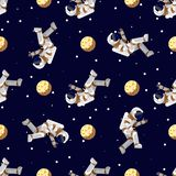 Space print. Flat Funny flying astronaut in space with stars and moon. Seamless pattern royalty free illustration