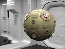 Space probe droid. Science fiction droid in futuristic corridor Royalty Free Stock Images