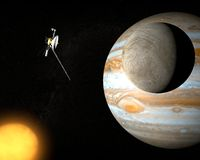 Space probe Voyager and Jupiter's moon Europa Royalty Free Stock Image