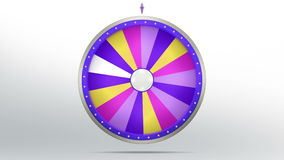 18 space of purple color Wheel fortune. The wheel of fortune or Lucky spin animation was created by Three Dimensional. Video is included the alpha channel and Vector Illustration