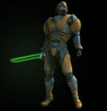 Space Ranger. Futuristic Ranger with green plasma sword Royalty Free Stock Images