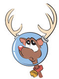 Space reindeer. Red nosed reindeer with glass helmet Stock Photo
