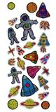 Space related stickers on an isolated background.  stock illustration