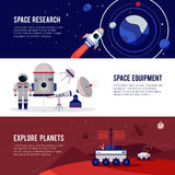 Space Research Flat Horizontal Banners Set Stock Image