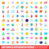 100 space research icons set, cartoon style. 100 space research icons set in cartoon style for any design vector illustration Stock Photo