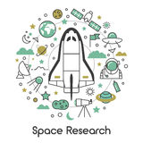 Space Research Line Art Thin Icons Set with Shuttle Astronaut and Planets. Space Research Line Art Thin Vector Icons Set with Shuttle Astronaut and Planets stock illustration