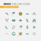 Space Research Linear Thin Line Icons Set with Shuttle Astronaut and Planets. Space Research Linear Thin Line Vector Icons Set with Shuttle Astronaut and Planets Royalty Free Stock Images