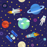 Space Research Seamless Pattern Background with Shuttle and Planets. Space Research Vector Seamless Pattern Background with Shuttle and Planets vector illustration