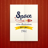 Space retro poster, vector illustration Stock Image